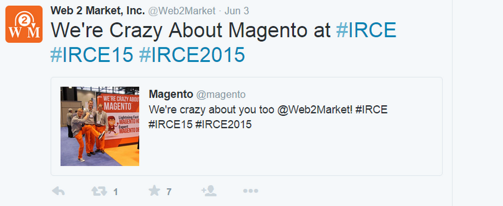 Web 2 Market tweet they are crazy about Magento