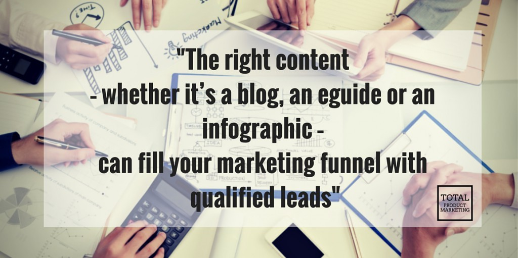 The right content, whether it's a blog, an eguide or an infographic, will fill your marketing funnel with qualified leads.