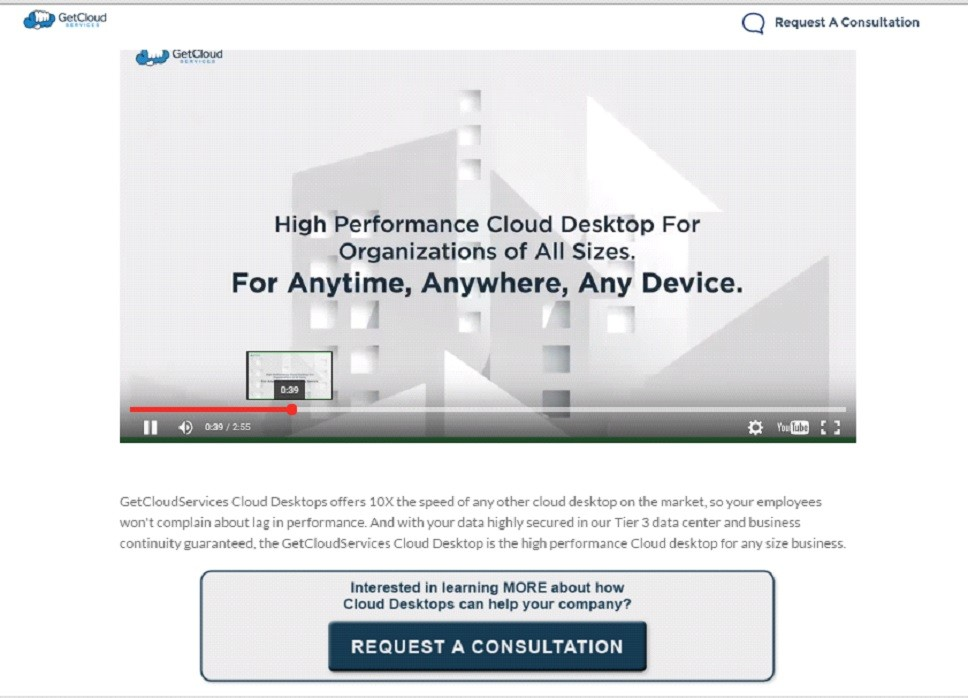 An example of a GetCloud Services viral landing page for a video.