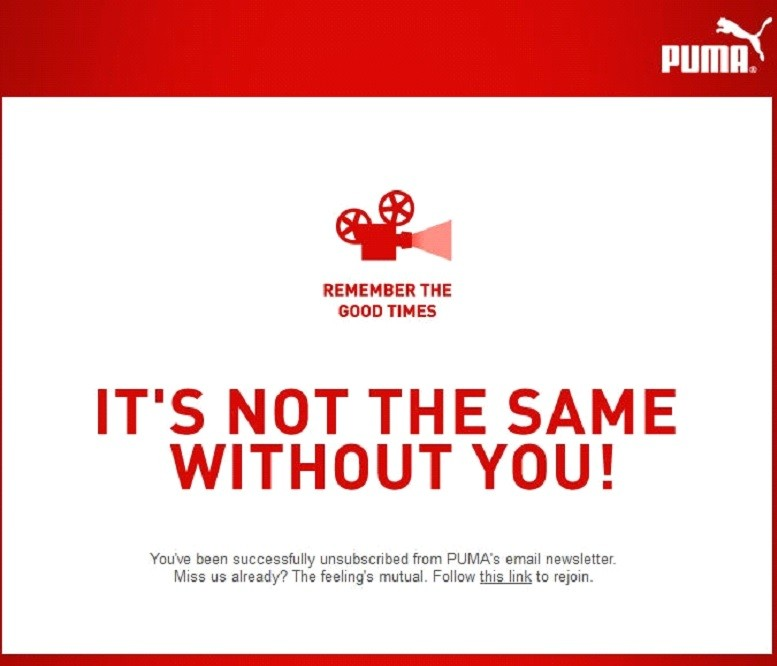 The Puma unsubscribe landing page with witty parting message.