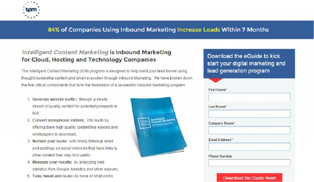 A Total Product Marketing lead-capturing landing page, with the purpose of gathering email addresses.