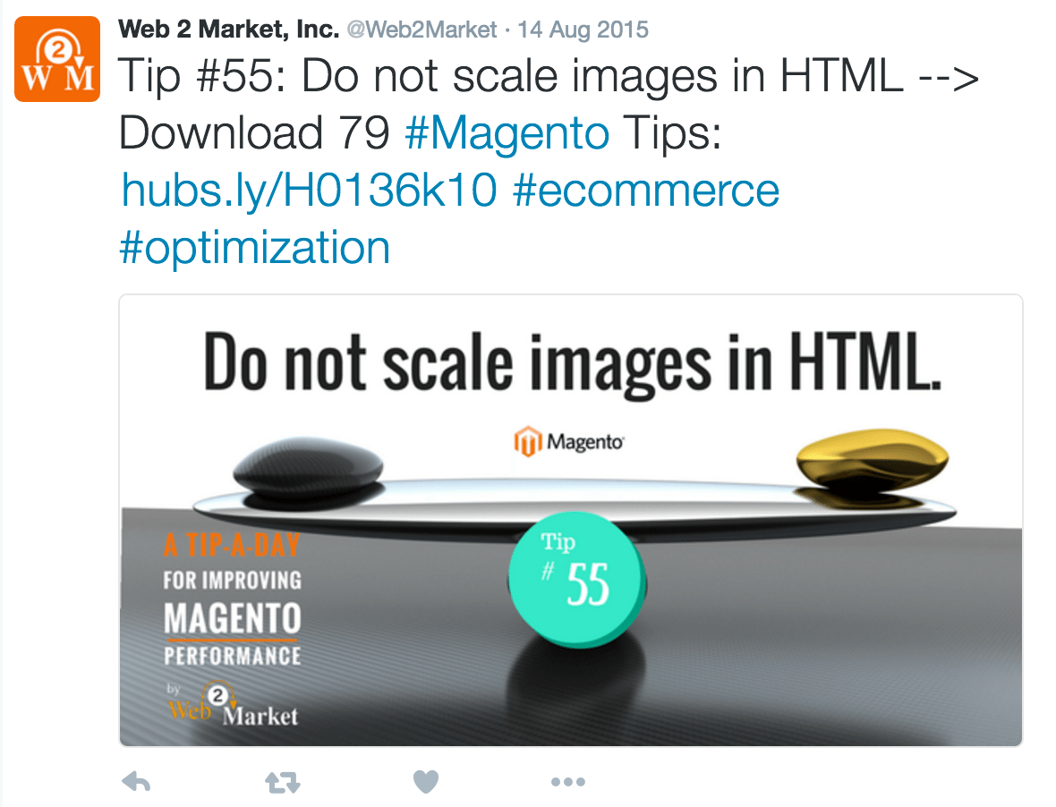 Web2Market Magento tips Twitter example.