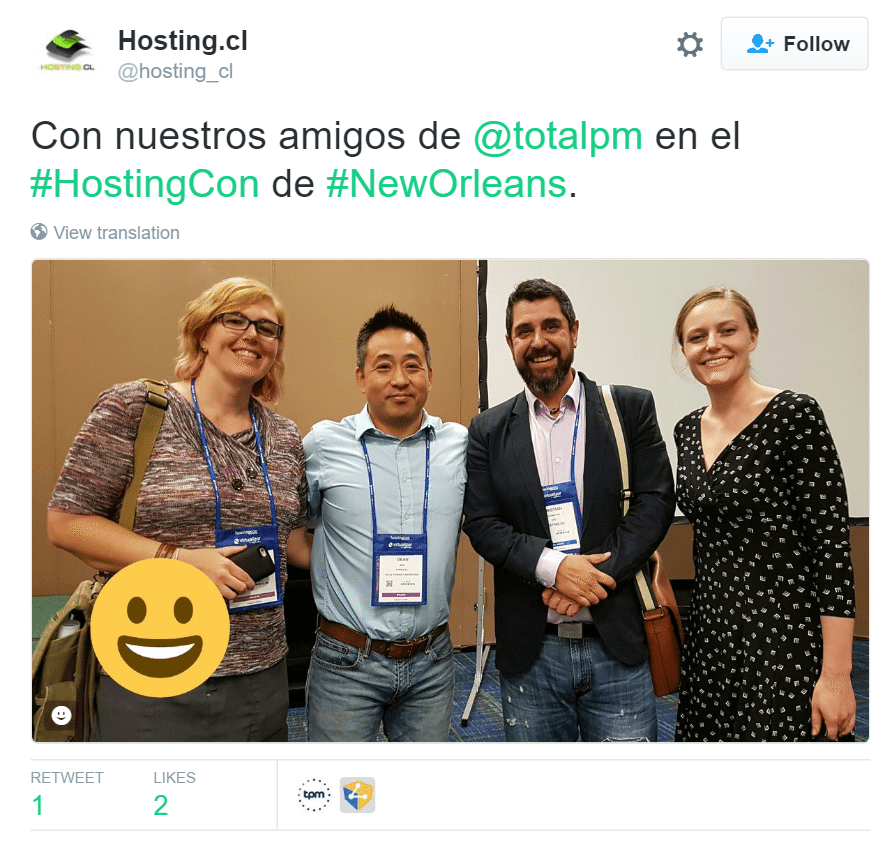 Hosting.cl tweet with TPM from HostingCon