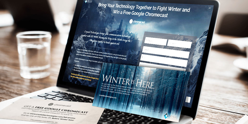 The landing page and postcard for Crystal Technologies' Game of Thrones campaign.