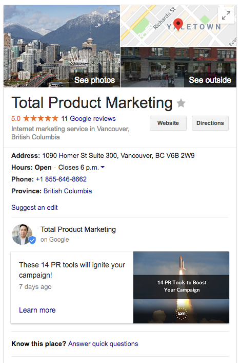 Total Product Marketing Google My Business