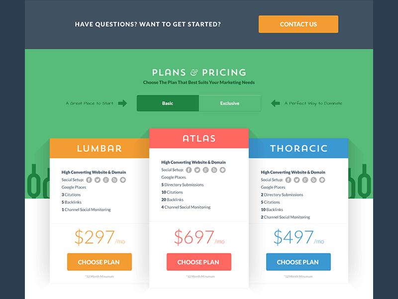 Example of plans and pricing page